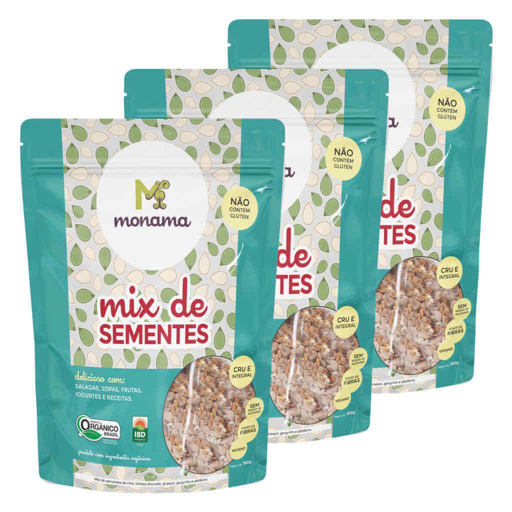 Mix de Sementes Orgânicas 190g - Monama (Kit c/ 3 unidades)  - Raiz Nativa - Loja de Produtos Naturais e Orgânicos Online