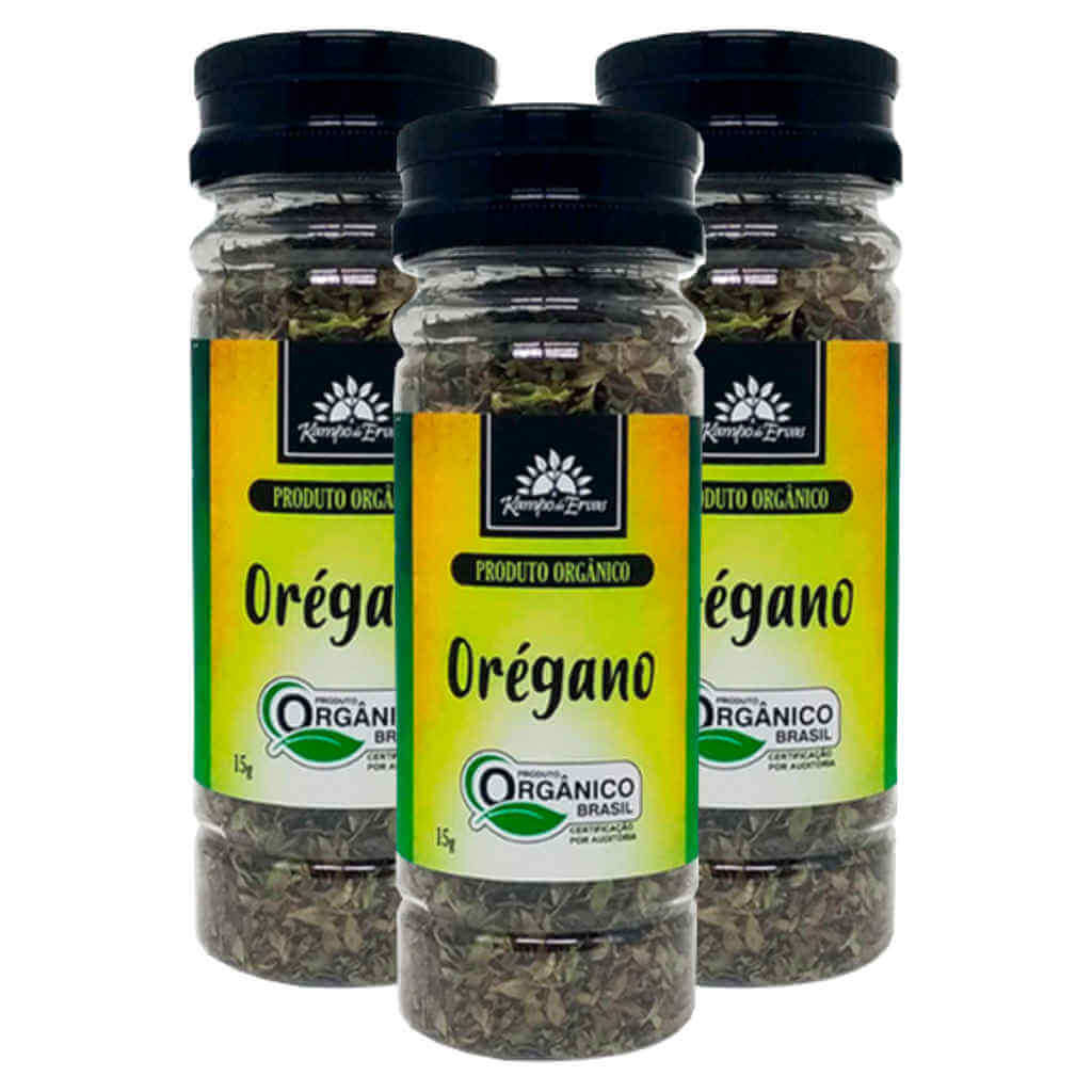 Orégano Seco Orgânico 15g - Kampo de Ervas (Kit c/ 3 potes)