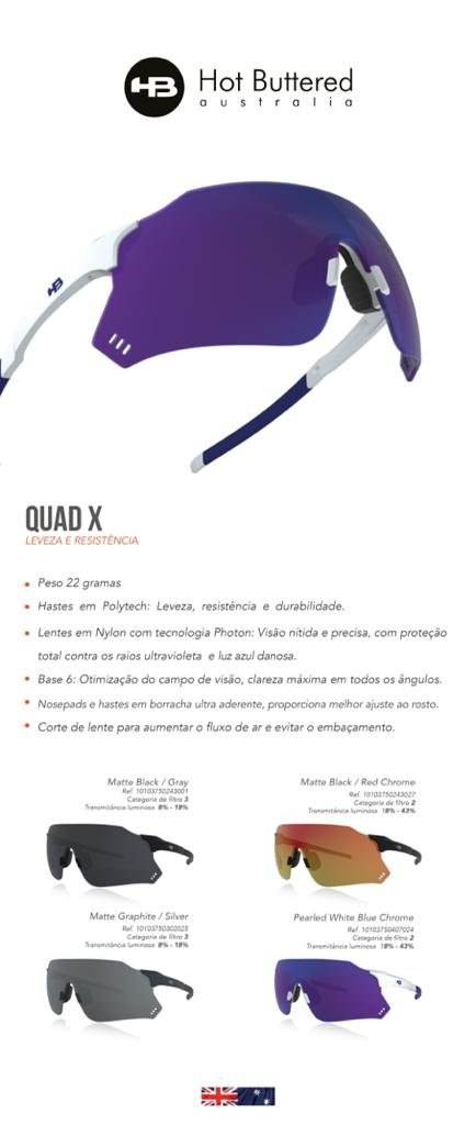 OCULOS DE CICLISMO HB QUAD X MATTE BLACK GRAY