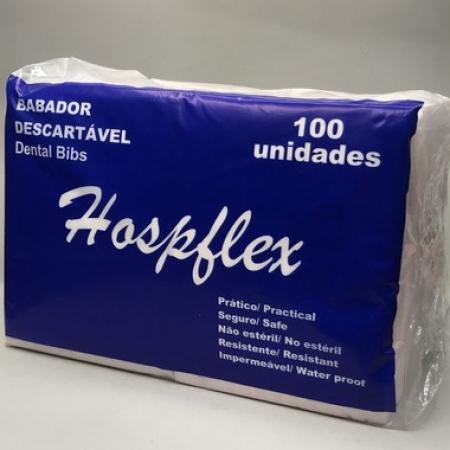 Babador odontológico impermeável Rosa Hospflex - com 100