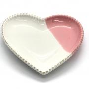 Decoração porcelana coração c/ Rosa