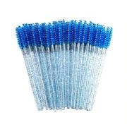 Escovinhas descartáveis para cílios e sobrancelhas c/50 - azul glitter