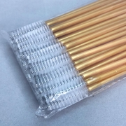 Escovinhas descartáveis para cílios e sobrancelhas c/50 - dourado e branco