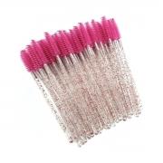 Escovinhas descartáveis para cílios e sobrancelhas c/50 - pink glitter