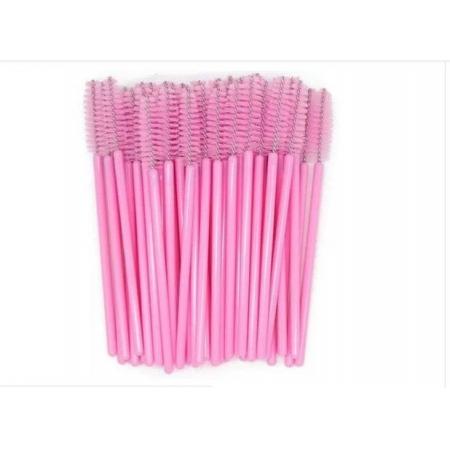 Escovinhas descartáveis para cílios e sobrancelhas c/50 - Rosa bebe