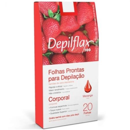 Folhas prontas depilatórias Depilflax Morango