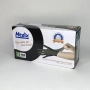 Luvas nítrilicas sem pó Medix - PRETA tamanho P