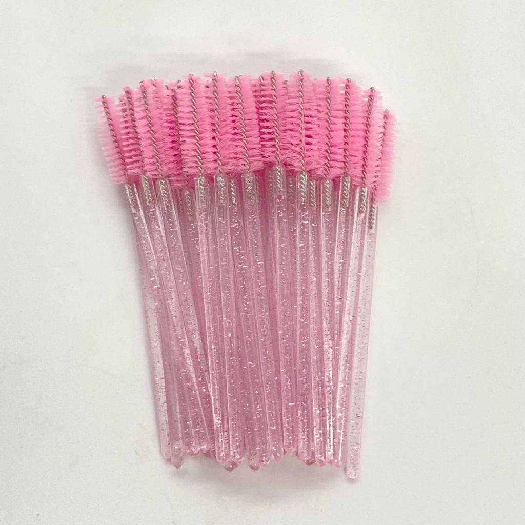 Escovinhas descartáveis para cílios e sobrancelhas c/50 - rosa bebe glitter
