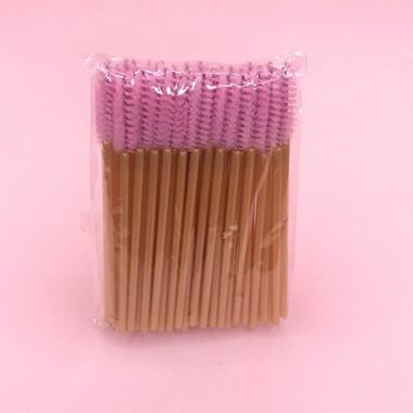 Escovinhas descartáveis para cílios e sobrancelhas c/50 - Rosa e dourada