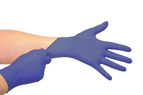 Luvas nítrilicas Antimicrobiana sem pó Medix  - violeta M