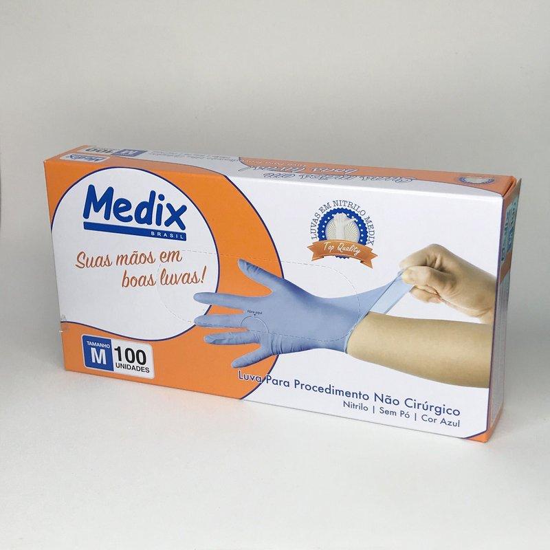 Luvas nítrilicas sem pó Medix - AZUL tamanho M