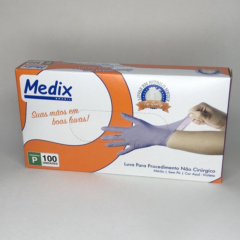 Luvas nitrílicas sem pó Medix - VIOLETA tamanho P