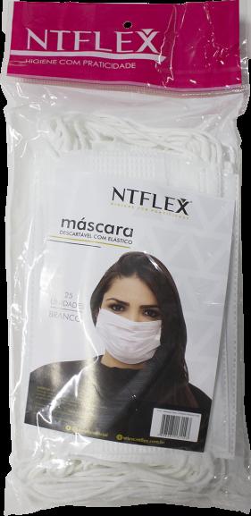 Máscara desc. c/ elástico NTflex c/25unid