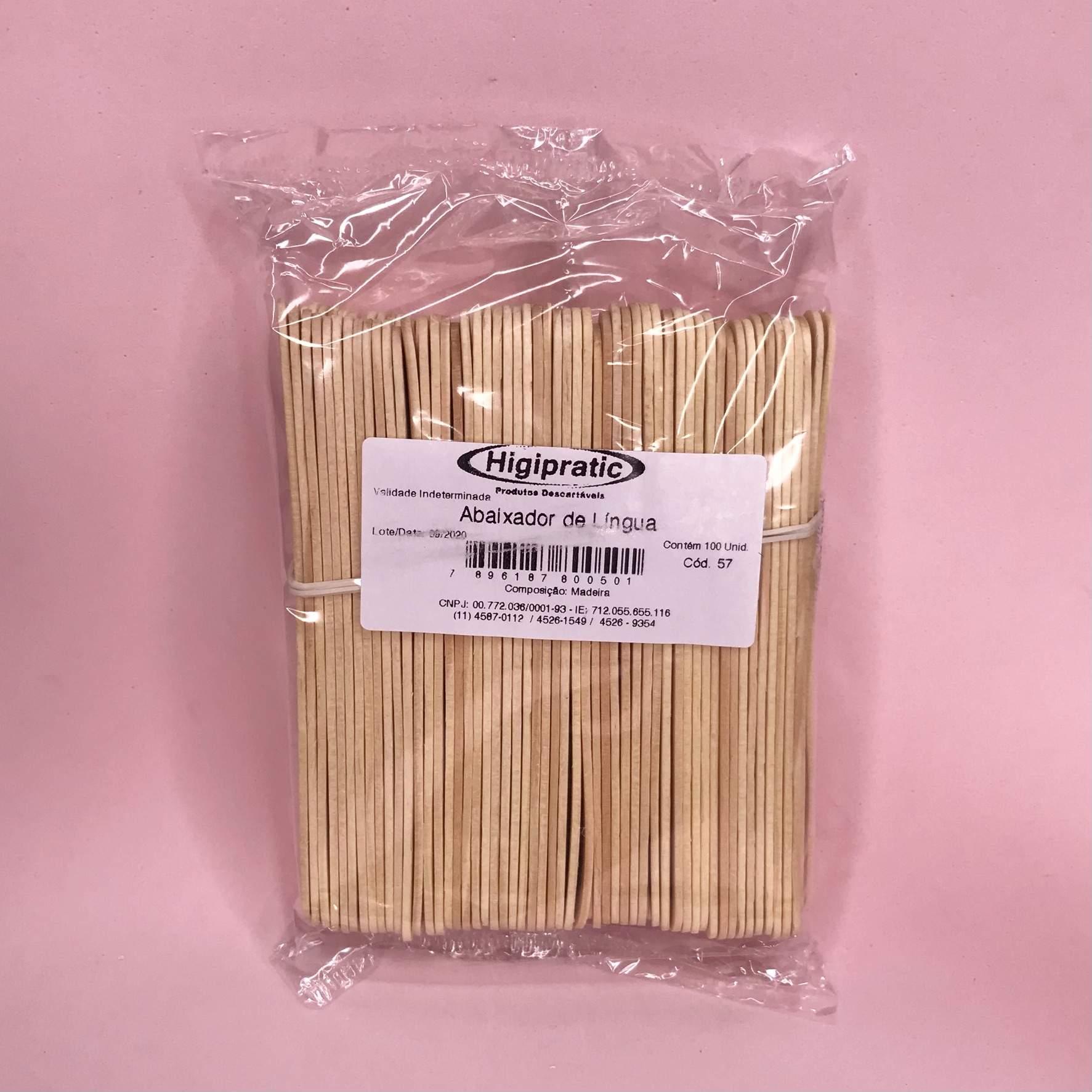 Palito abaixador de língua madeira higipratic - 100 unidades