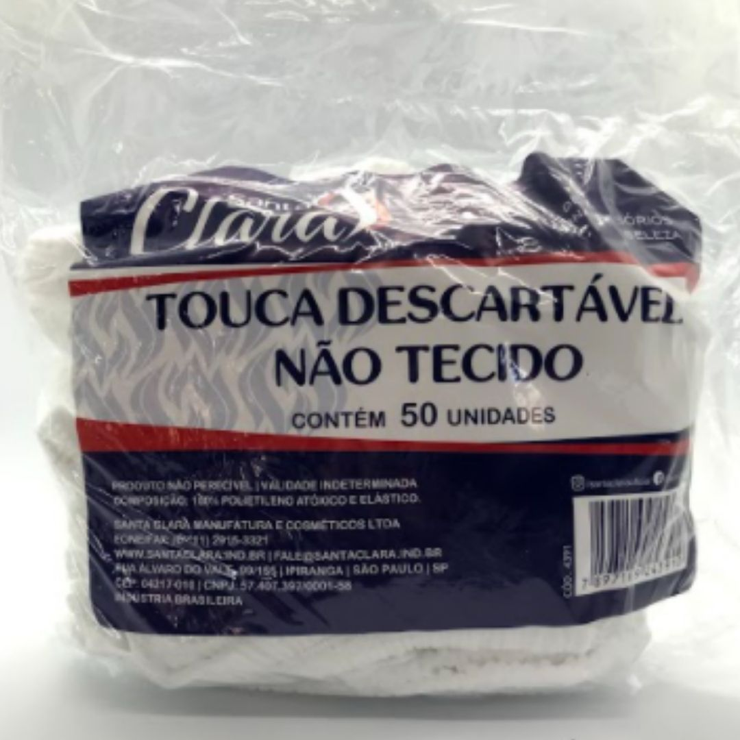 Touca TNT descartável branca Santa Clara - 50 unidades