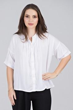 Camisa Estilizada em Viscose Branca - Midsize
