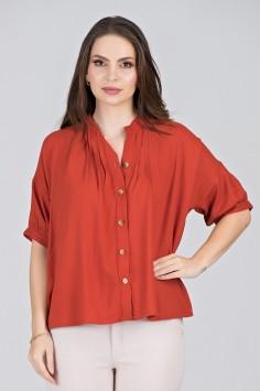Camisa Estilizada em Viscose Vermelha - Midsize