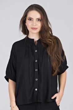 Camisa Estilizada em Viscose Preta - Midsize