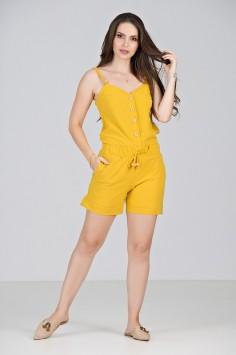 Conjunto Short em Crepe Amarelo - Midsize