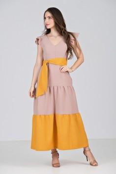 Vestido Longo em Linha Texturizada Bicolor Rosê\Amarelo - Midsize