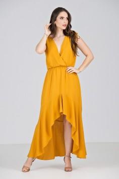 Vestido Longuete Assimétrico em Viscose Amarela - Midsize