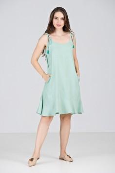 Vestido Curto em Viscose Verde Piscina - Midsize