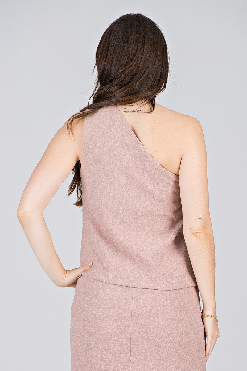 Blusa Rosê um Ombro só em Linha Texturizada  - Midsize