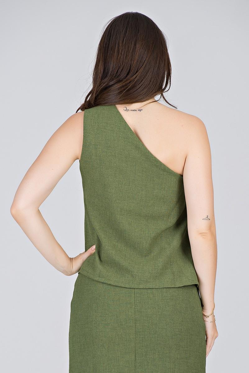 Blusa Verde um Ombro só em Linha Texturizada - Midsize