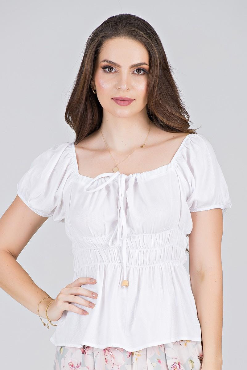 Blusa em Viscose Branca com Lastex - Midsize