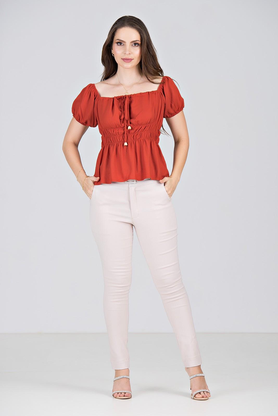 Blusa em Viscose Vermelha com Lastex - Midsize