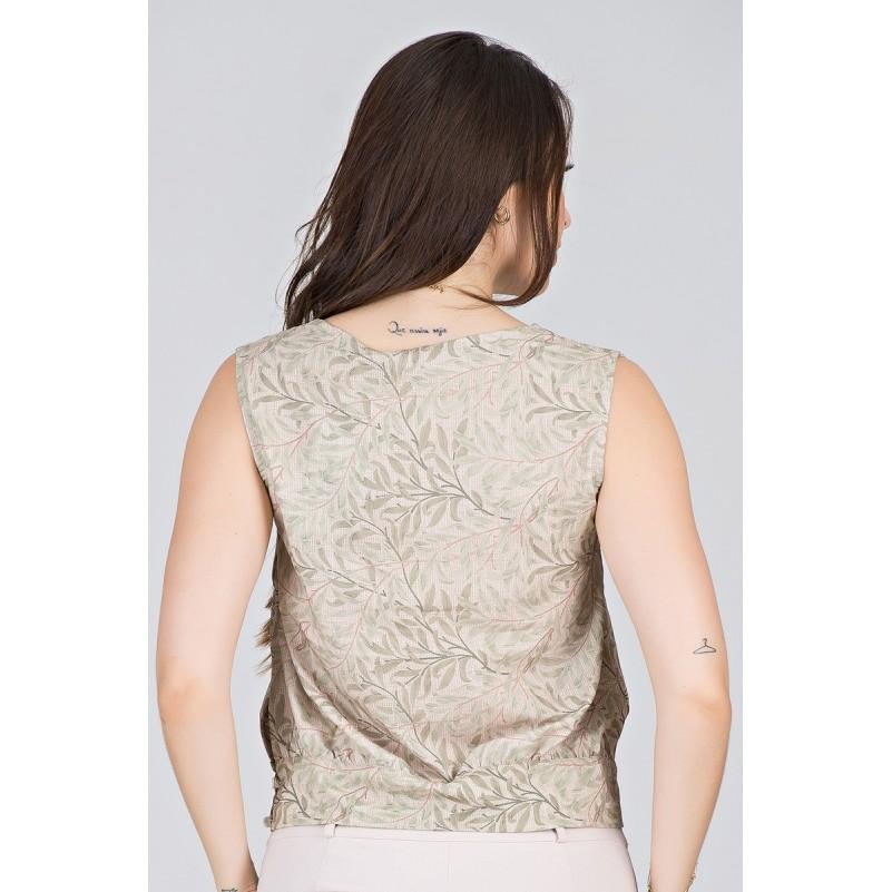 Blusa Transpassada em Estampa de Galhos - Midsize