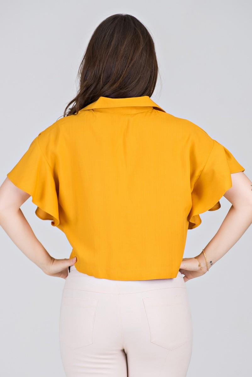 Camisa Cropped em Viscolinho Amarelo - Midsize