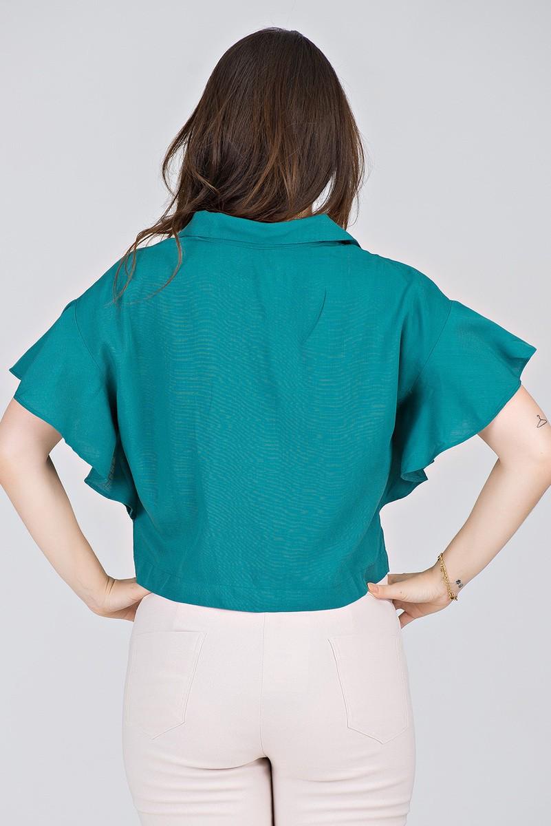 Camisa Cropped em Viscolinho Verde - Midsize