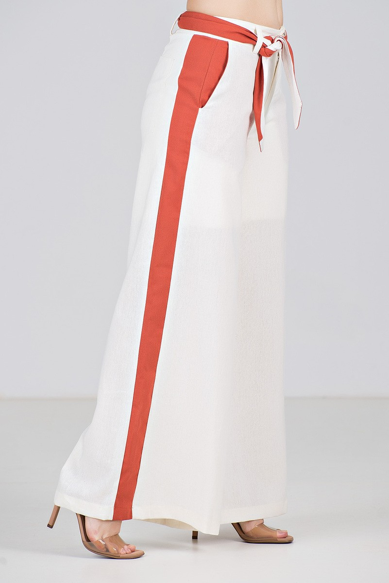 Calça Pantalona Bicolor em linho - Midsize