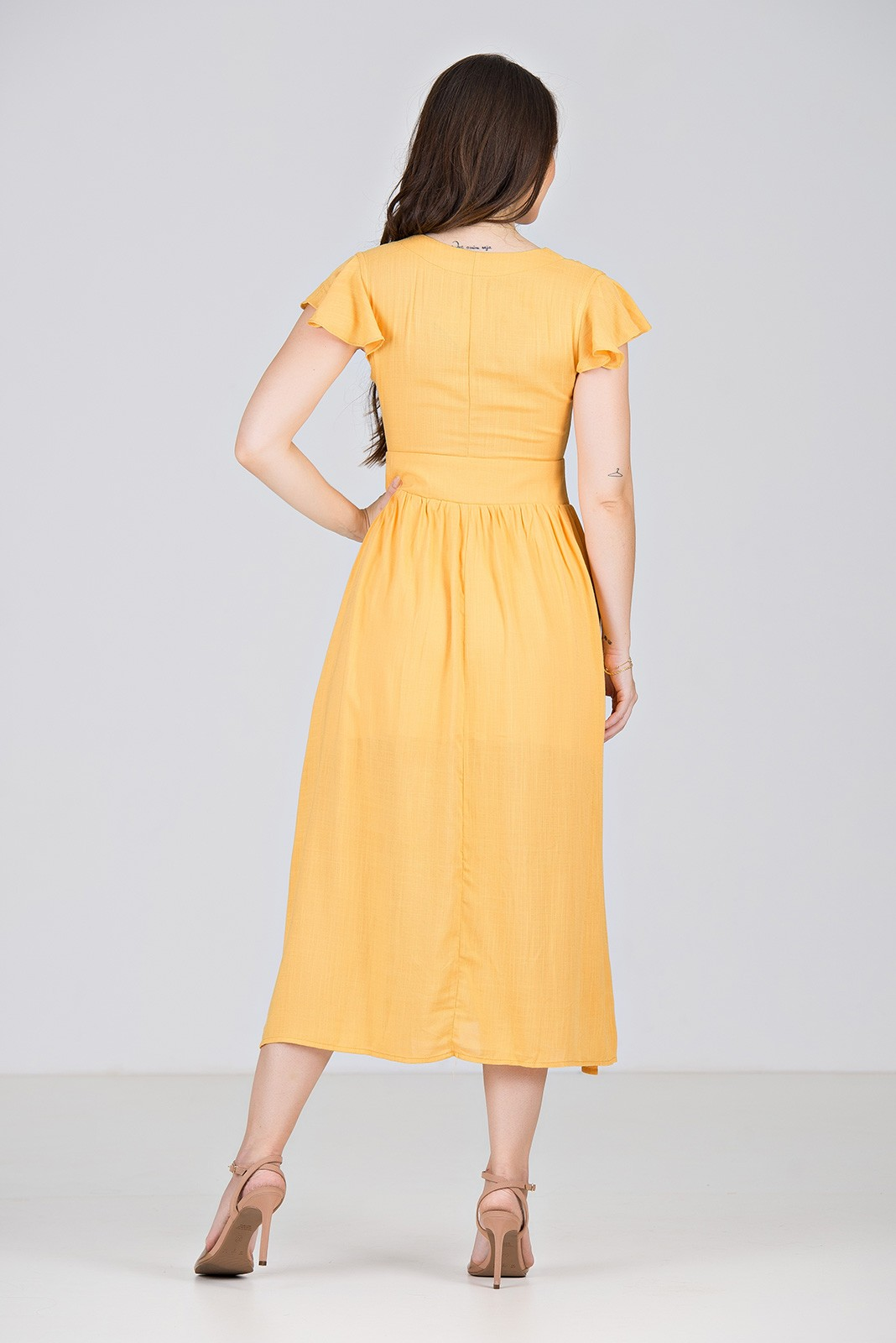 Vestido Midi em Viscose Amarela - Midsize