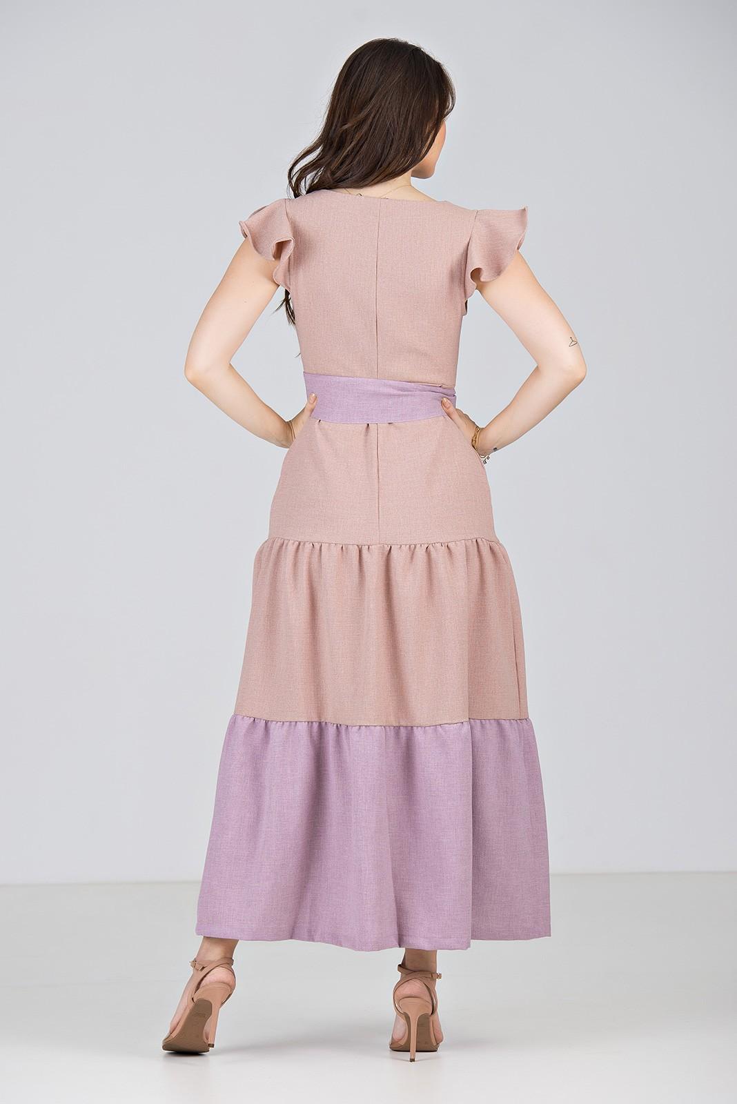 Vestido Longo em Linha Texturizada Bicolor Rosê\Lilás - Midsize