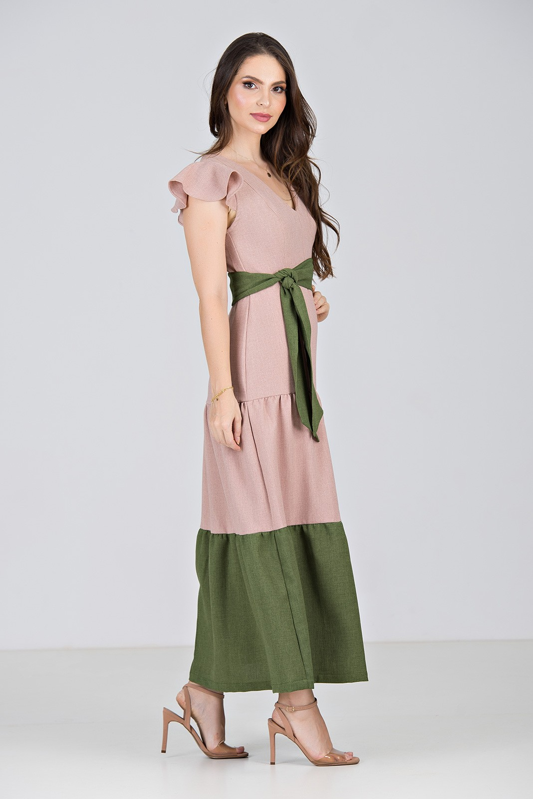 Vestido Longo em Linha Texturizada Bicolor Rosê\Verde  - Midsize