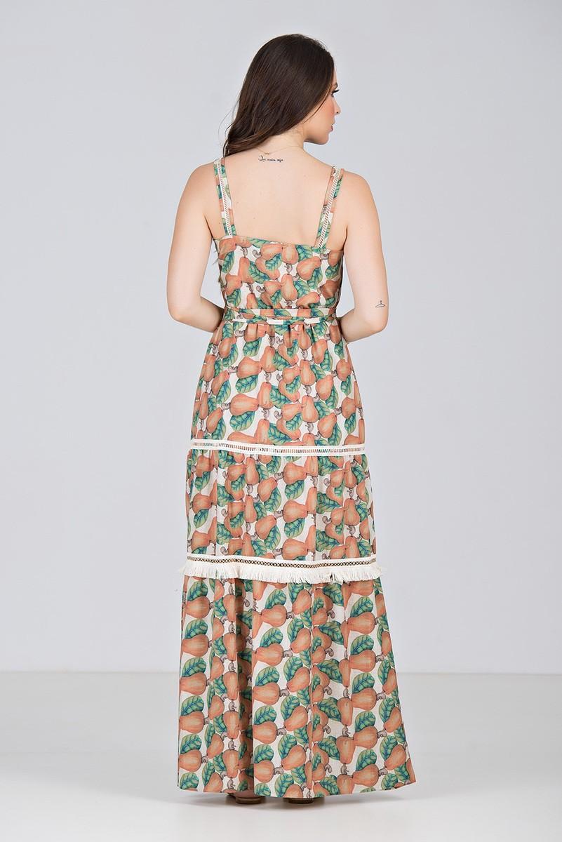 Vestido Longo Estampado de Caju - Midsize