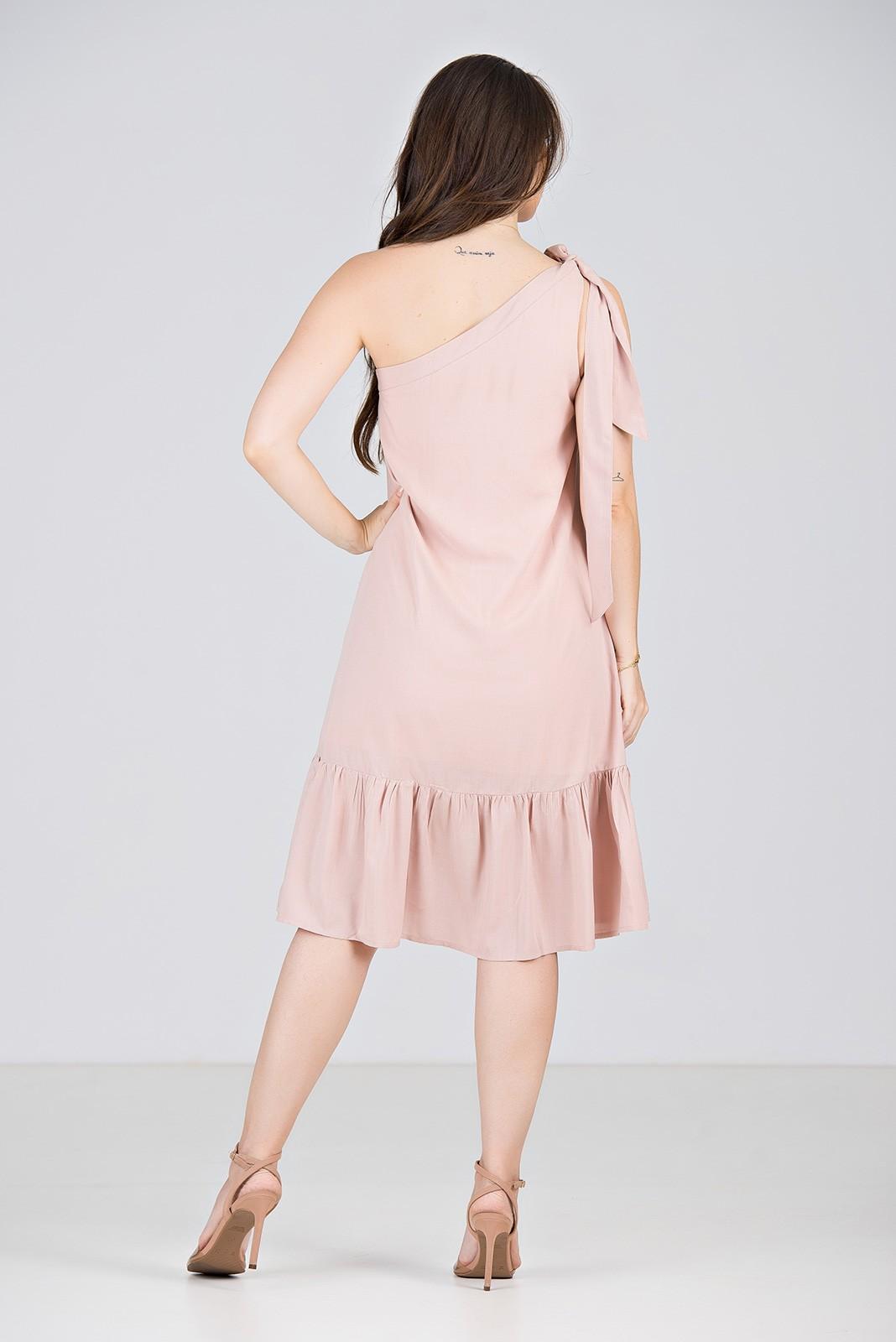 Vestido Curto Um Ombro Só em Viscose Rosê - Midsize