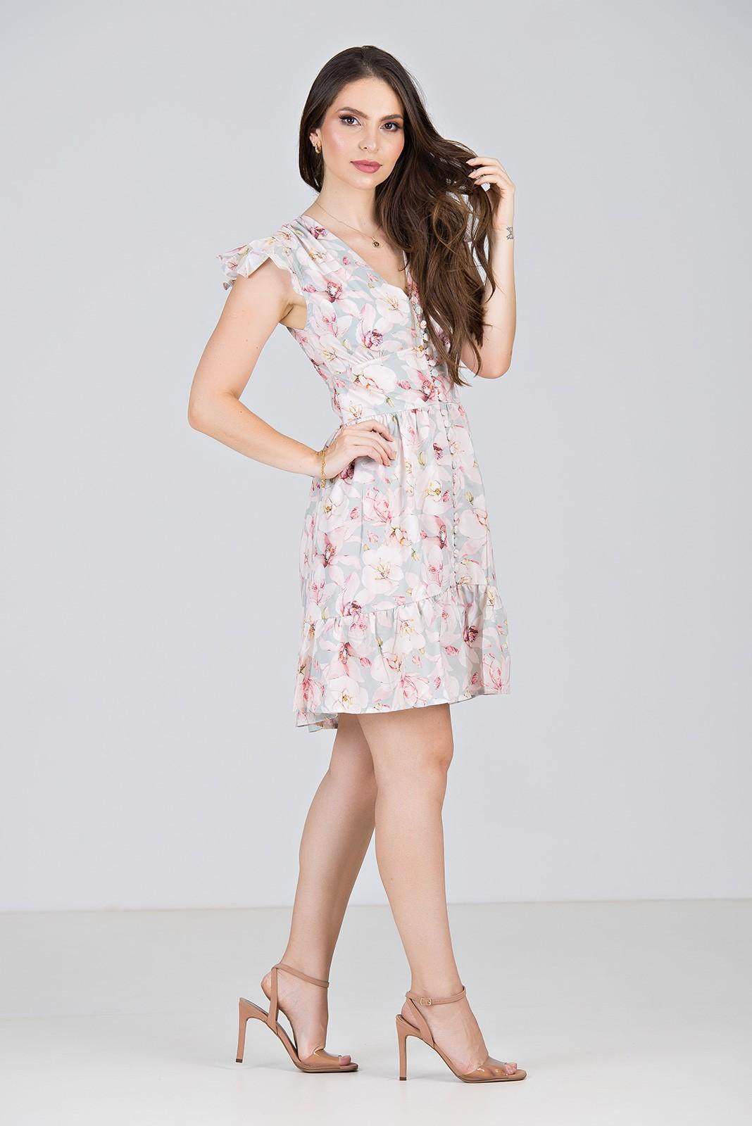 Vestido Floral Curto com Babados - Midsize