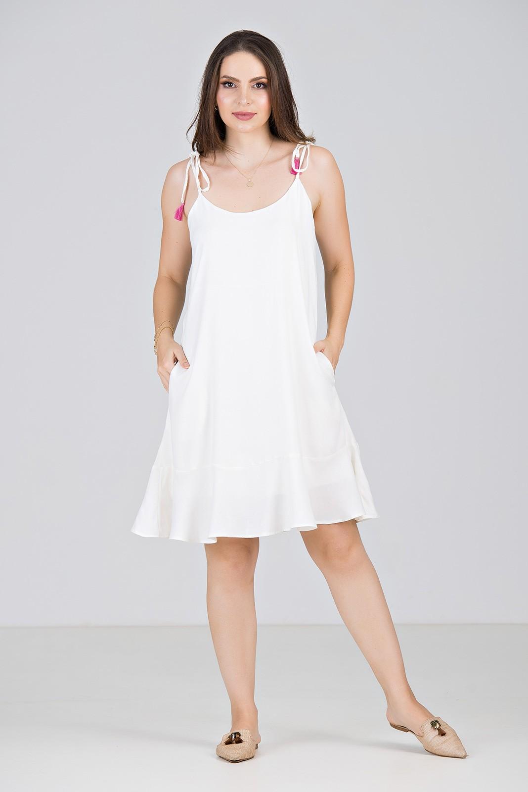 Vestido Curto em Viscose Off White - Midsize