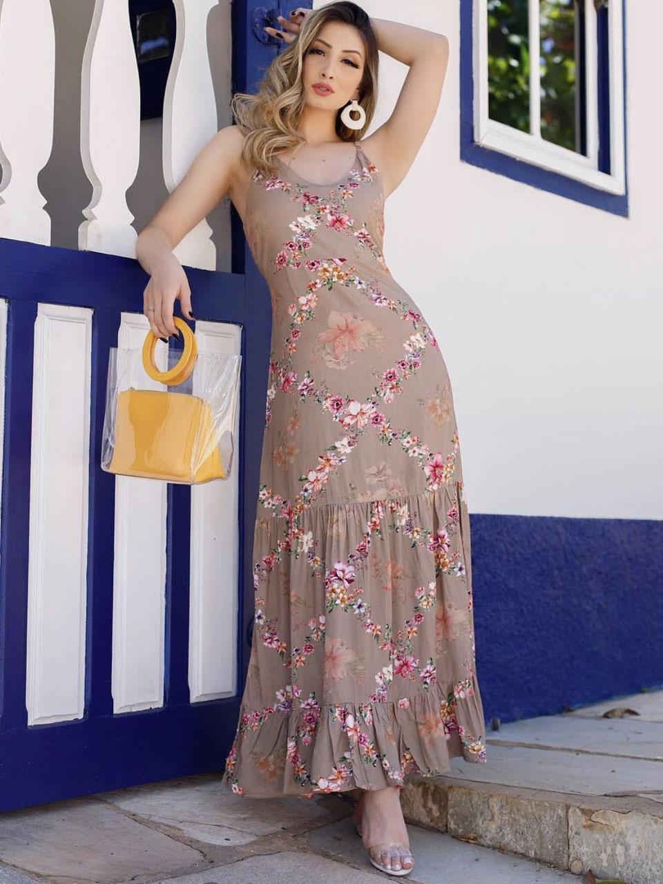 Vestido Alicia floral longo