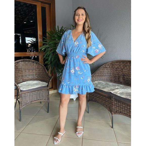 Vestido Curto Azul Floral