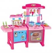 Brinquedo Kit Cozinha Bancada Completa Geladeira Fogão Luz