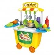 Brinquedo Kit Restaurante Mini Chef Cozinha Bancada 2 em 1