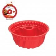 Forma para Pudim Bolo em Silicone 24 cm 1,5 litros Vermelho