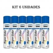 Kit 6 Un. Tinta Spray Uso Geral Tekbond 350ml Azul