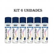 Kit 6 Un. Tinta Spray uso geral Tekbond 350ml Azul Escuro