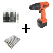 Kit Furadeira e Parafusadeira Cd961 Black & Decker + 20 Bits