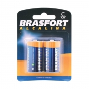 Pilha Alcalina C Média 1,5 Volts Brasfort